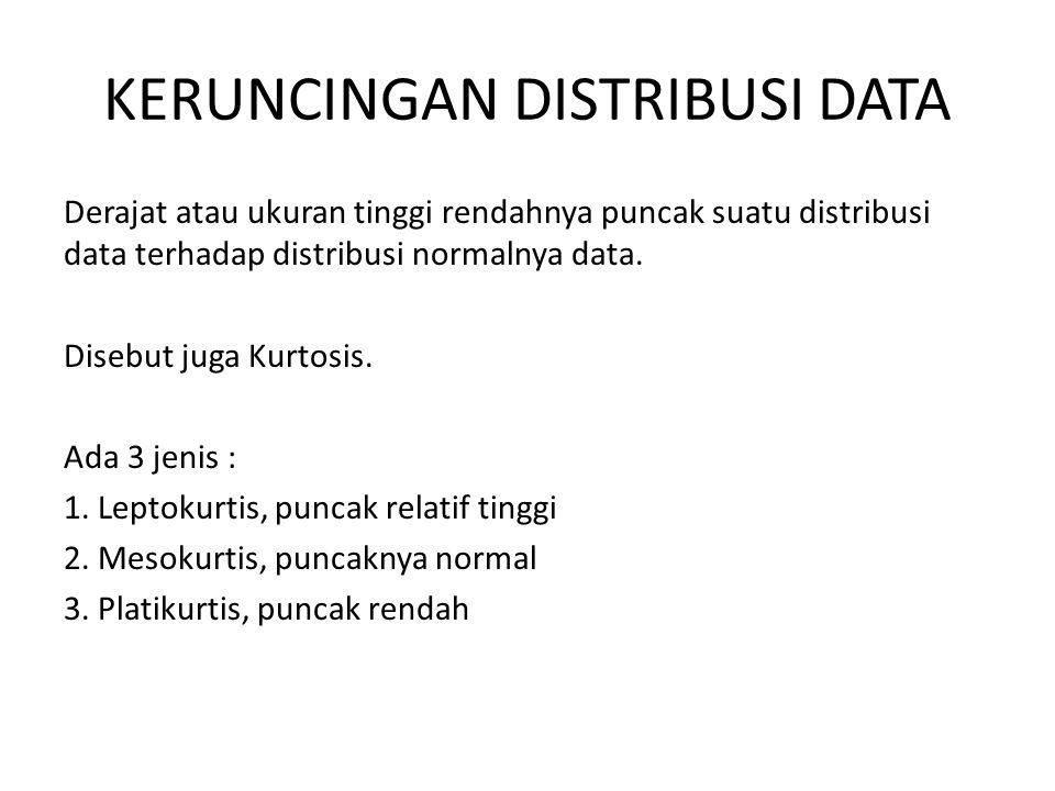 KERUNCINGAN DISTRIBUSI DATA Derajat atau ukuran tinggi rendahnya puncak suatu distribusi data terhadap distribusi normalnya data. Disebut juga Kurtosi