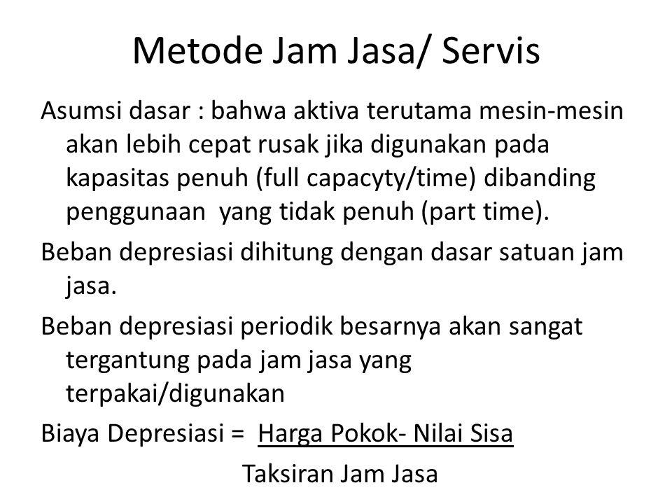 Metode Jam Jasa/ Servis Asumsi dasar : bahwa aktiva terutama mesin-mesin akan lebih cepat rusak jika digunakan pada kapasitas penuh (full capacyty/time) dibanding penggunaan yang tidak penuh (part time).