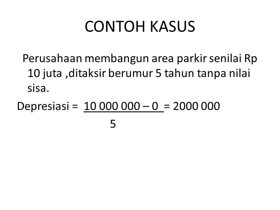 CONTOH KASUS Perusahaan membangun area parkir senilai Rp 10 juta,ditaksir berumur 5 tahun tanpa nilai sisa. Depresiasi = 10 000 000 – 0 = 2000 000 5