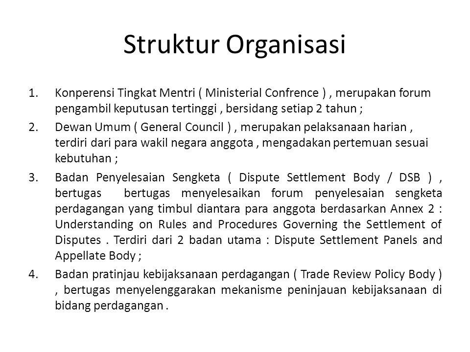 Struktur Organisasi 1.Konperensi Tingkat Mentri ( Ministerial Confrence ), merupakan forum pengambil keputusan tertinggi, bersidang setiap 2 tahun ; 2