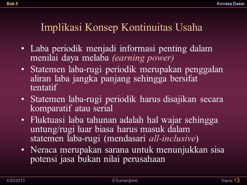  Suwardjono Bab 5Konsep Dasar 4/20/2015 Transi 13 Laba periodik menjadi informasi penting dalam menilai daya melaba (earning power) Statemen laba-rug