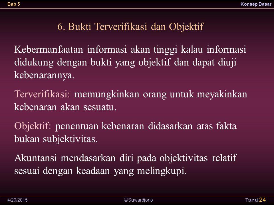  Suwardjono Bab 5Konsep Dasar 4/20/2015 Transi 24 6. Bukti Terverifikasi dan Objektif Kebermanfaatan informasi akan tinggi kalau informasi didukung d