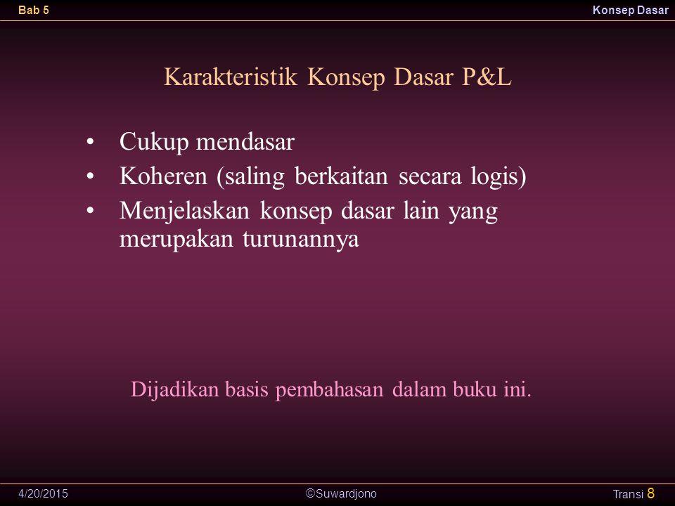  Suwardjono Bab 5Konsep Dasar 4/20/2015 Transi 8 Karakteristik Konsep Dasar P&L Cukup mendasar Koheren (saling berkaitan secara logis) Menjelaskan ko