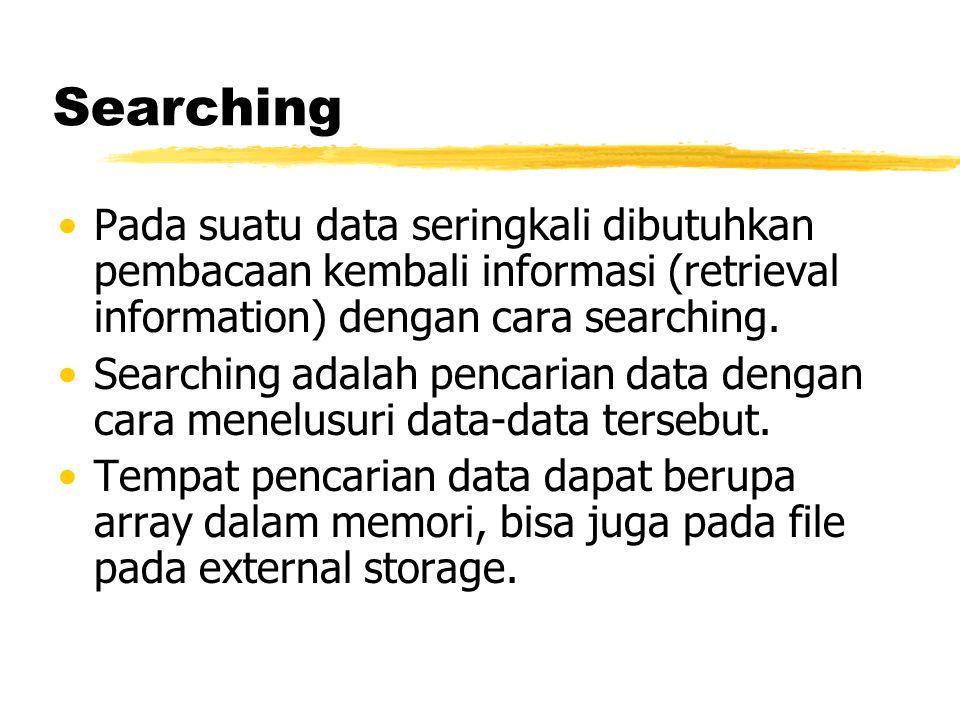 Searching Pada suatu data seringkali dibutuhkan pembacaan kembali informasi (retrieval information) dengan cara searching. Searching adalah pencarian
