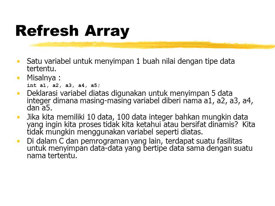 Refresh Array Satu variabel untuk menyimpan 1 buah nilai dengan tipe data tertentu. Misalnya : int a1, a2, a3, a4, a5; Deklarasi variabel diatas digun