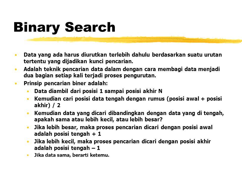 Binary Search Data yang ada harus diurutkan terlebih dahulu berdasarkan suatu urutan tertentu yang dijadikan kunci pencarian. Adalah teknik pencarian