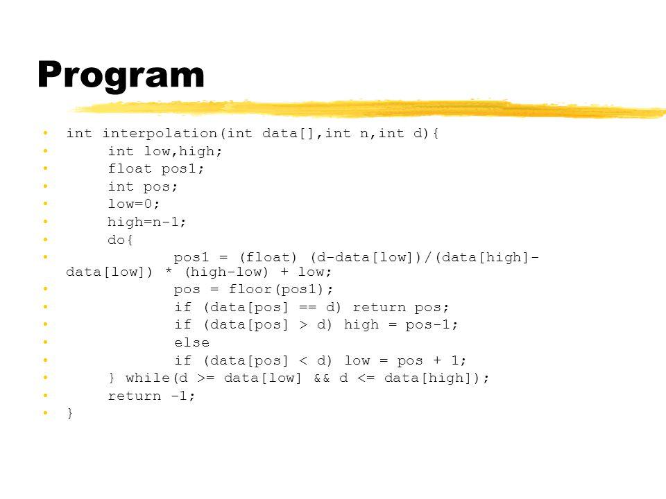 Program int interpolation(int data[],int n,int d){ int low,high; float pos1; int pos; low=0; high=n-1; do{ pos1 = (float) (d-data[low])/(data[high]- data[low]) * (high-low) + low; pos = floor(pos1); if (data[pos] == d) return pos; if (data[pos] > d) high = pos-1; else if (data[pos] < d) low = pos + 1; } while(d >= data[low] && d <= data[high]); return -1; }