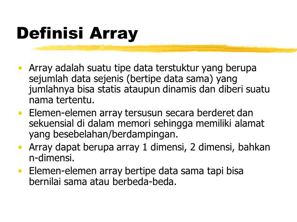 Definisi Array Array adalah suatu tipe data terstuktur yang berupa sejumlah data sejenis (bertipe data sama) yang jumlahnya bisa statis ataupun dinami