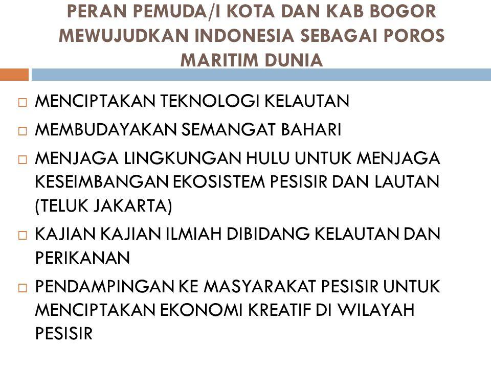 PERAN PEMUDA/I KOTA DAN KAB BOGOR MEWUJUDKAN INDONESIA SEBAGAI POROS MARITIM DUNIA  MENCIPTAKAN TEKNOLOGI KELAUTAN  MEMBUDAYAKAN SEMANGAT BAHARI  M