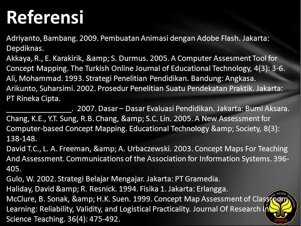 Referensi Adriyanto, Bambang. 2009. Pembuatan Animasi dengan Adobe Flash. Jakarta: Depdiknas. Akkaya, R., E. Karakirik, & S. Durmus. 2005. A Compu