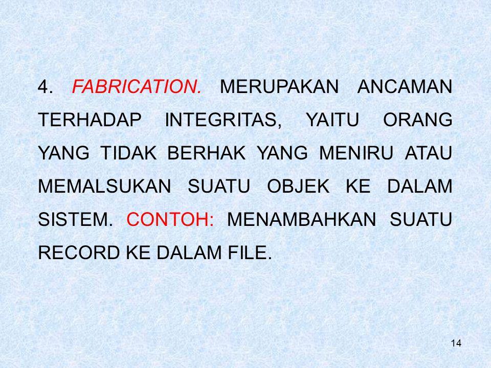 14 4. FABRICATION. MERUPAKAN ANCAMAN TERHADAP INTEGRITAS, YAITU ORANG YANG TIDAK BERHAK YANG MENIRU ATAU MEMALSUKAN SUATU OBJEK KE DALAM SISTEM. CONTO
