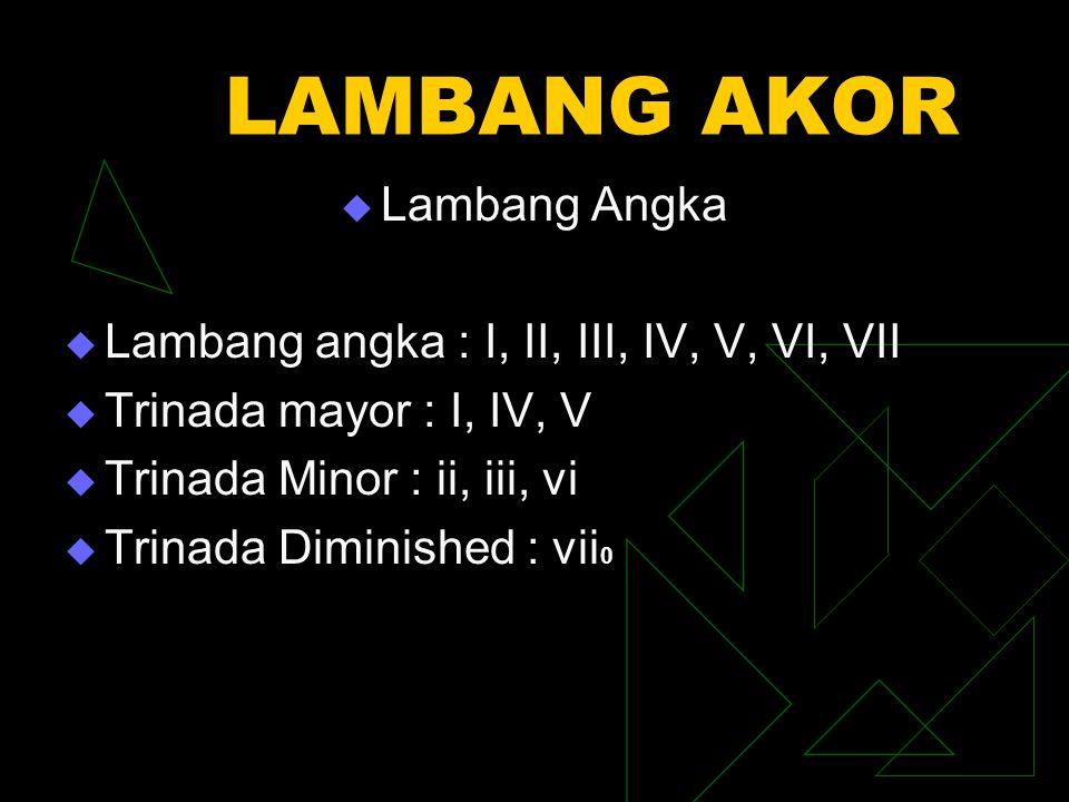LAMBANG AKOR  Lambang Angka  Lambang angka : I, II, III, IV, V, VI, VII  Trinada mayor : I, IV, V  Trinada Minor : ii, iii, vi  Trinada Diminishe