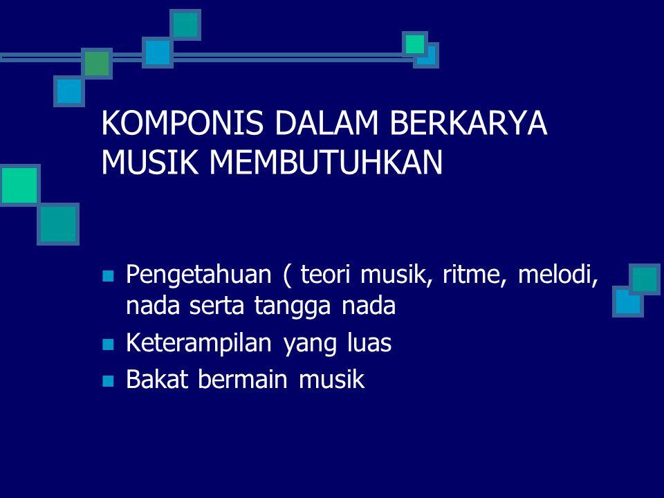 KOMPONIS DALAM BERKARYA MUSIK MEMBUTUHKAN Pengetahuan ( teori musik, ritme, melodi, nada serta tangga nada Keterampilan yang luas Bakat bermain musik