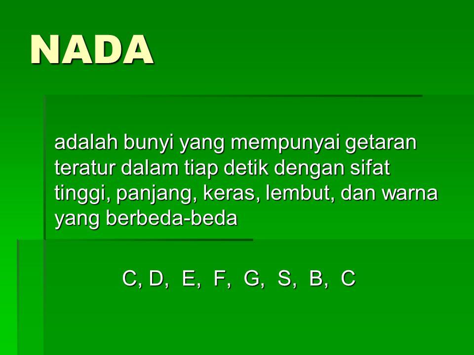 NADA adalah bunyi yang mempunyai getaran teratur dalam tiap detik dengan sifat tinggi, panjang, keras, lembut, dan warna yang berbeda-beda C, D, E, F, G, S, B, C