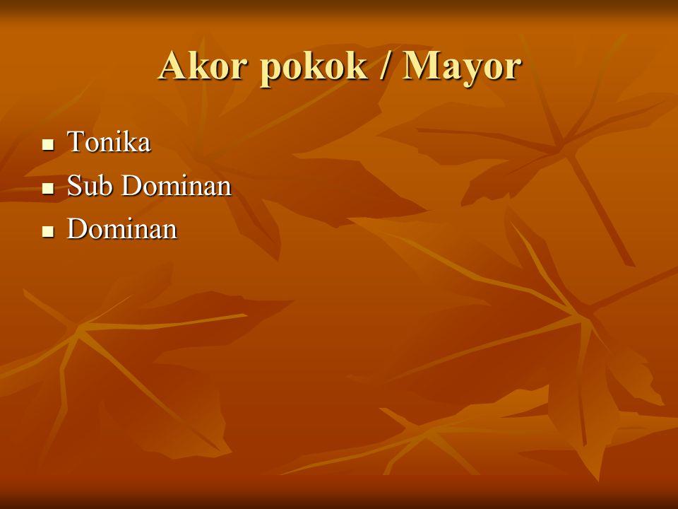 Akor pokok / Mayor Tonika Tonika Sub Dominan Sub Dominan Dominan Dominan