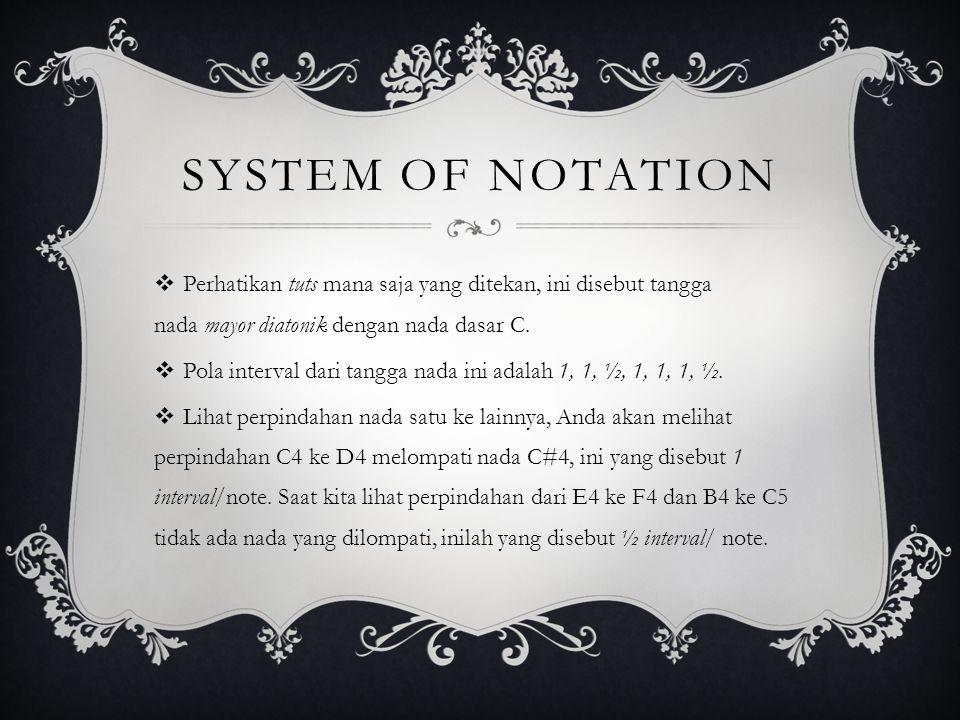  Perhatikan tuts mana saja yang ditekan, ini disebut tangga nada mayor diatonik dengan nada dasar C.
