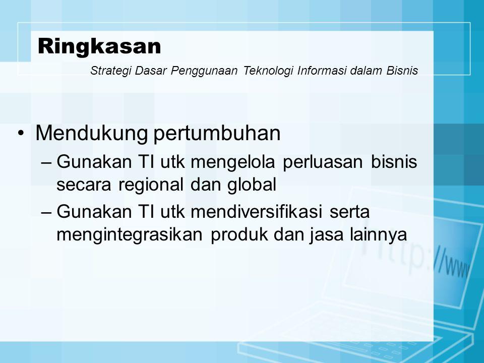 Mendukung pertumbuhan –Gunakan TI utk mengelola perluasan bisnis secara regional dan global –Gunakan TI utk mendiversifikasi serta mengintegrasikan pr