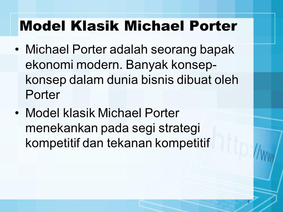 6 Model Klasik Michael Porter Michael Porter adalah seorang bapak ekonomi modern. Banyak konsep- konsep dalam dunia bisnis dibuat oleh Porter Model kl