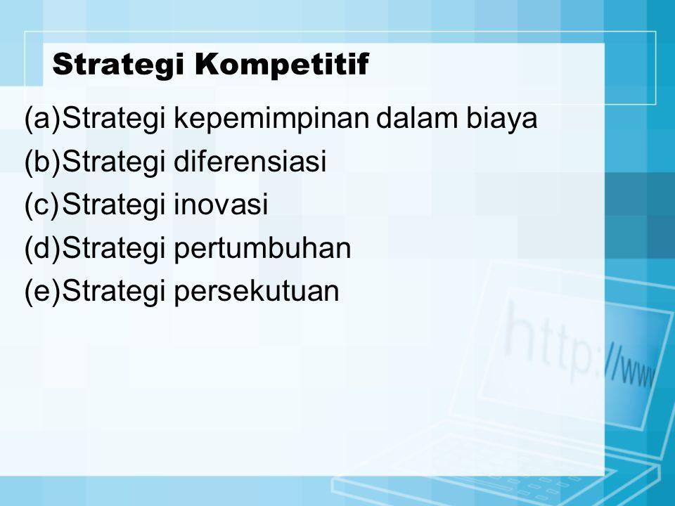 (a)Strategi kepemimpinan dalam biaya (b)Strategi diferensiasi (c)Strategi inovasi (d)Strategi pertumbuhan (e)Strategi persekutuan Strategi Kompetitif