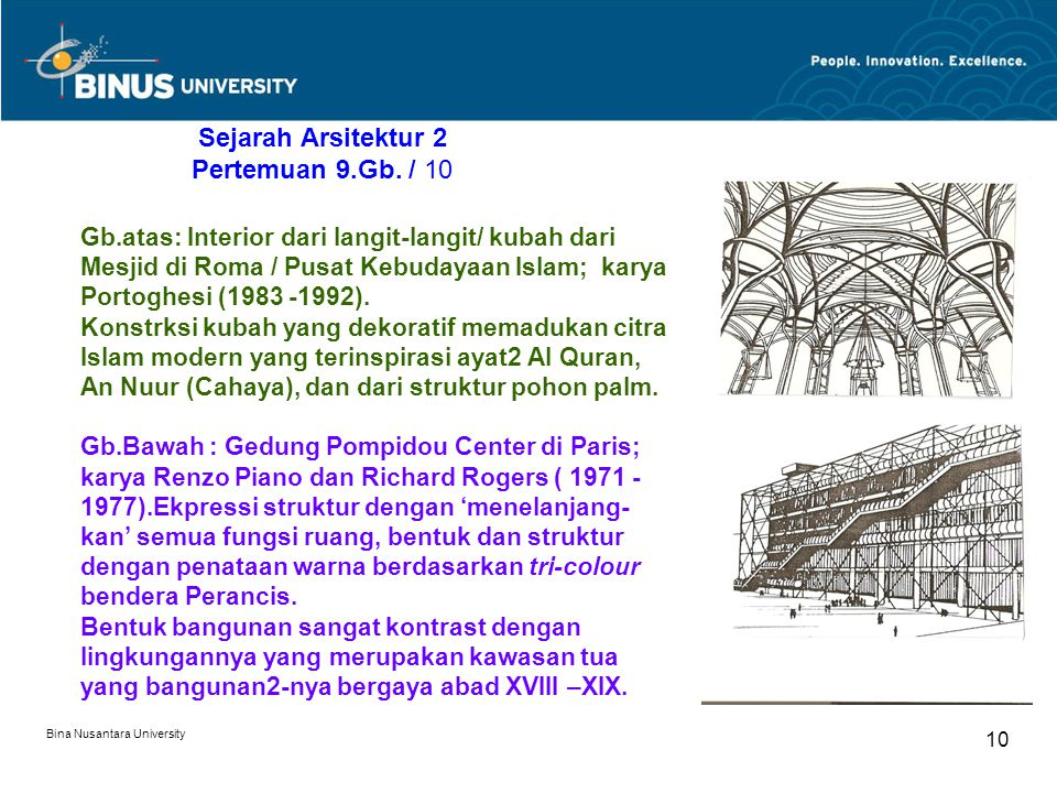 Bina Nusantara University 10 Sejarah Arsitektur 2 Pertemuan 9.Gb. / 10 Gb.atas: Interior dari langit-langit/ kubah dari Mesjid di Roma / Pusat Kebuday