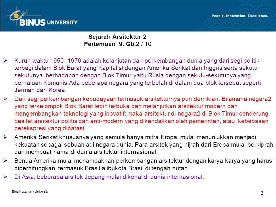 Bina Nusantara University 3 Sejarah Arsitektur 2 Pertemuan 9. Gb.2 / 10  Kurun waktu 1950 -1970 adalah kelanjutan dari perkembangan dunia yang dari s