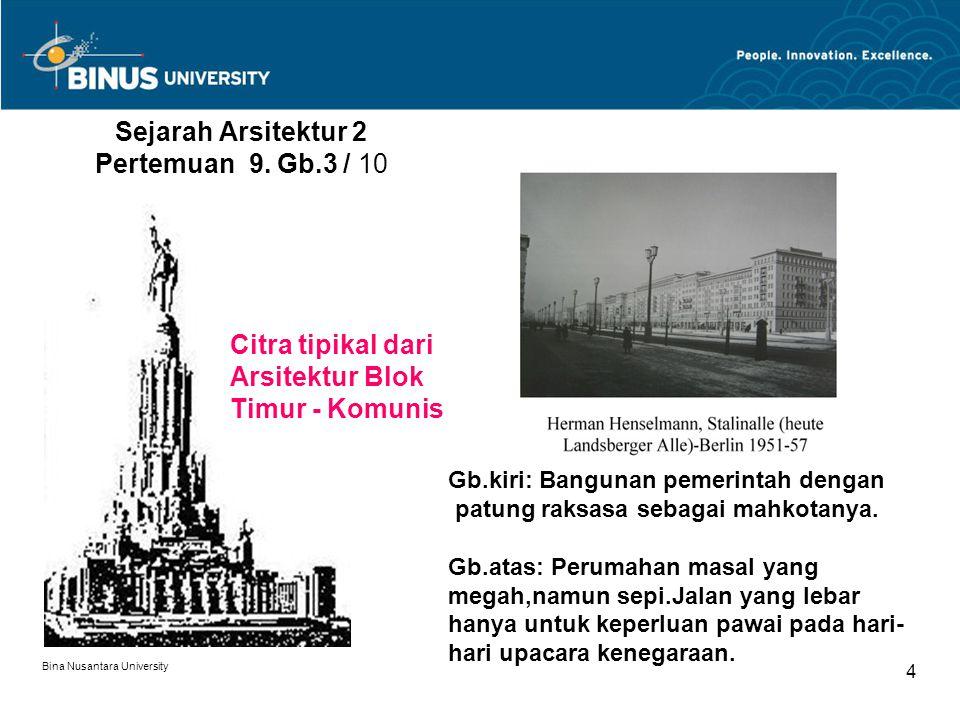 Bina Nusantara University 4 Sejarah Arsitektur 2 Pertemuan 9. Gb.3 / 10 Gb.kiri: Bangunan pemerintah dengan patung raksasa sebagai mahkotanya. Gb.atas