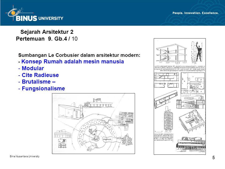 Bina Nusantara University 5 Sejarah Arsitektur 2 Pertemuan 9. Gb.4 / 10 Sumbangan Le Corbusier dalam arsitektur modern: - Konsep Rumah adalah mesin ma