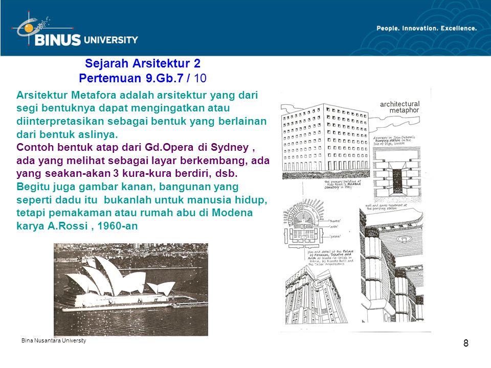 Bina Nusantara University 8 Sejarah Arsitektur 2 Pertemuan 9.Gb.7 / 10 Arsitektur Metafora adalah arsitektur yang dari segi bentuknya dapat mengingatk