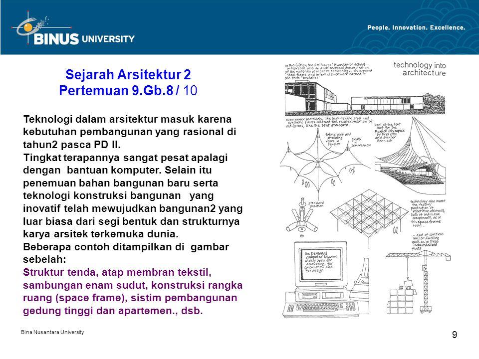 Bina Nusantara University 9 Sejarah Arsitektur 2 Pertemuan 9.Gb.8 / 10 Teknologi dalam arsitektur masuk karena kebutuhan pembangunan yang rasional di