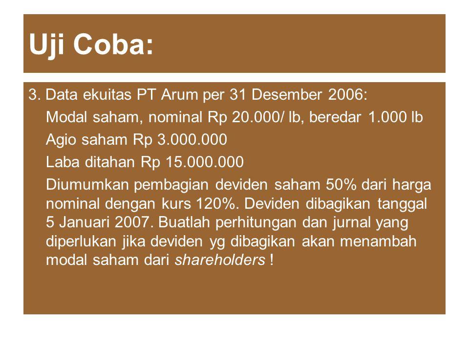 Uji Coba: 3. Data ekuitas PT Arum per 31 Desember 2006: Modal saham, nominal Rp 20.000/ lb, beredar 1.000 lb Agio saham Rp 3.000.000 Laba ditahan Rp 1