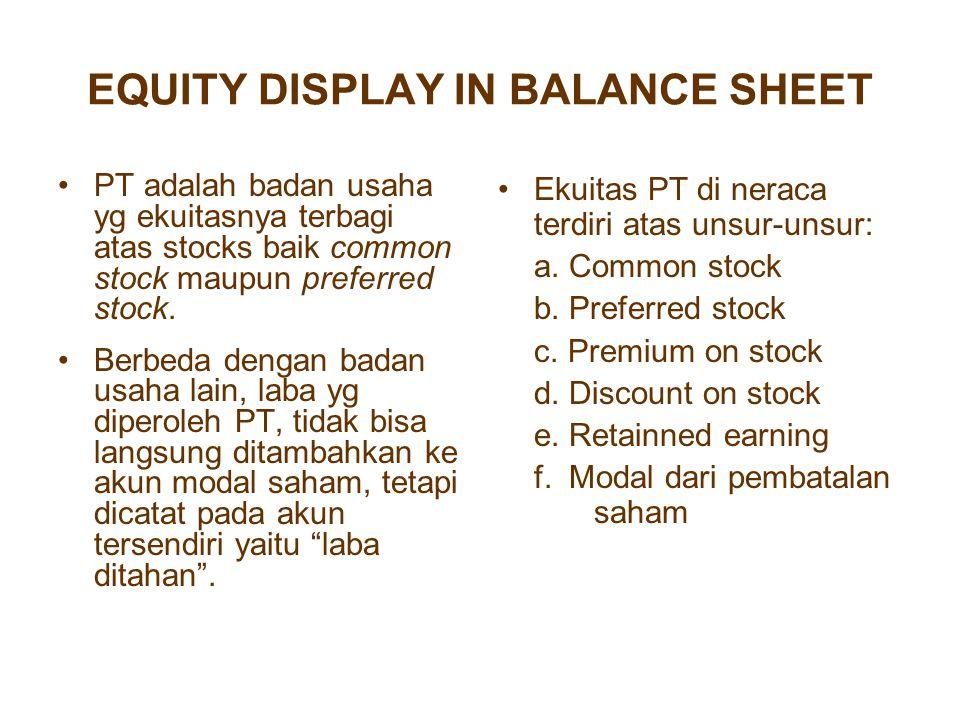 EQUITY DISPLAY IN BALANCE SHEET PT adalah badan usaha yg ekuitasnya terbagi atas stocks baik common stock maupun preferred stock. Berbeda dengan badan