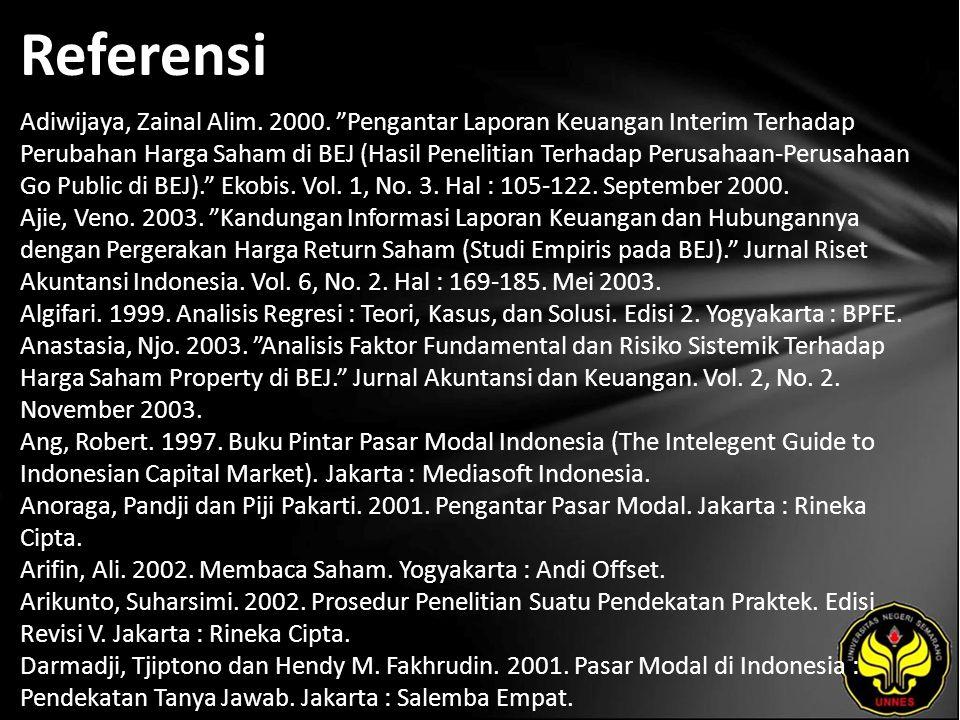 """Referensi Adiwijaya, Zainal Alim. 2000. """"Pengantar Laporan Keuangan Interim Terhadap Perubahan Harga Saham di BEJ (Hasil Penelitian Terhadap Perusahaa"""