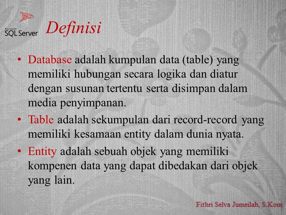 Definisi Database adalah kumpulan data (table) yang memiliki hubungan secara logika dan diatur dengan susunan tertentu serta disimpan dalam media peny