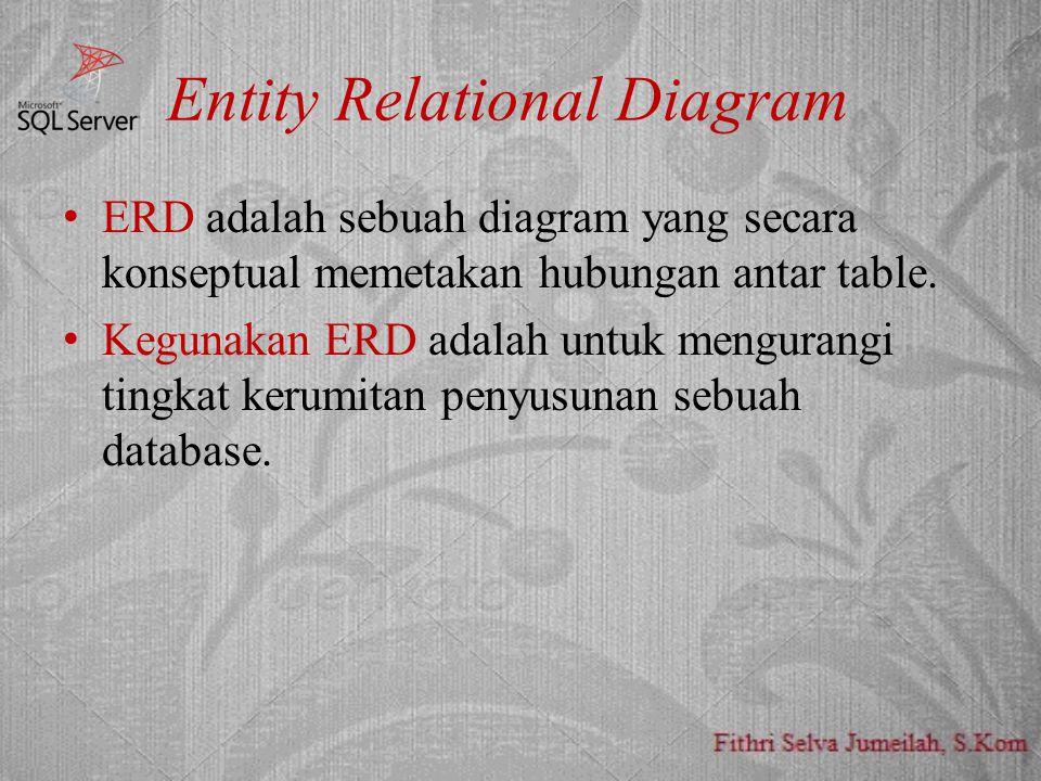 Entity Relational Diagram ERD adalah sebuah diagram yang secara konseptual memetakan hubungan antar table. Kegunakan ERD adalah untuk mengurangi tingk