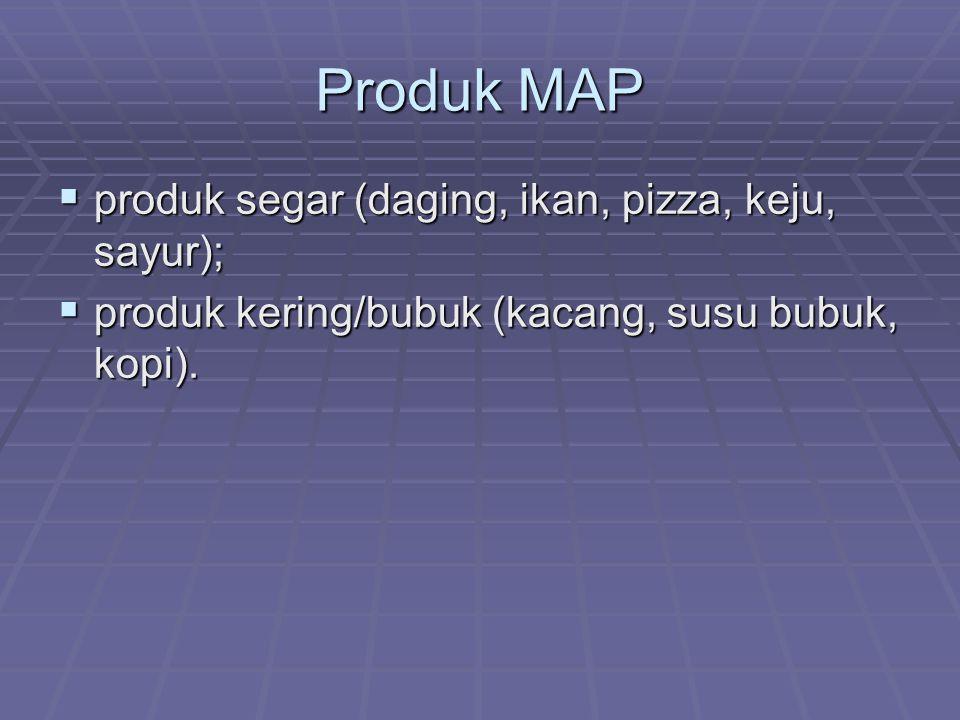Produk MAP  produk segar (daging, ikan, pizza, keju, sayur);  produk kering/bubuk (kacang, susu bubuk, kopi).