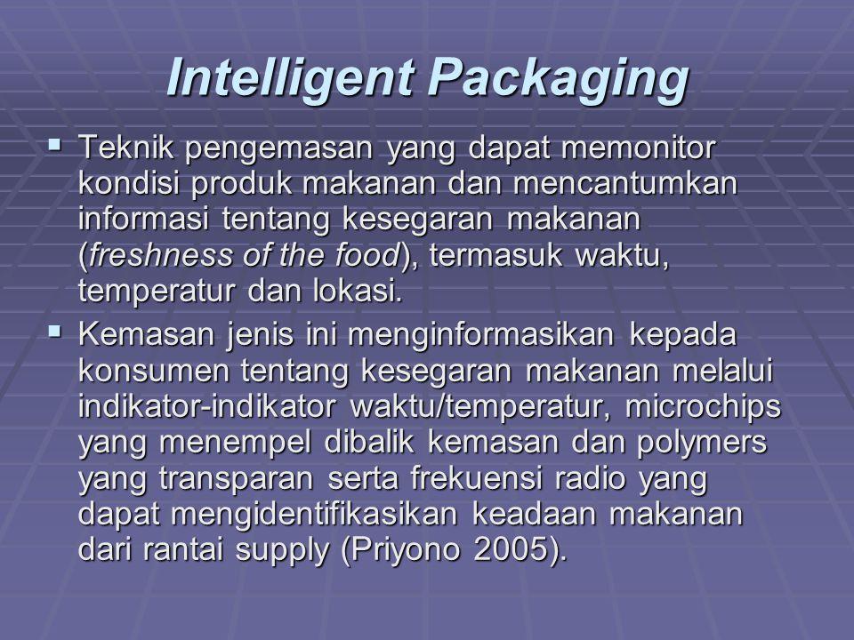 Intelligent Packaging  Teknik pengemasan yang dapat memonitor kondisi produk makanan dan mencantumkan informasi tentang kesegaran makanan (freshness of the food), termasuk waktu, temperatur dan lokasi.