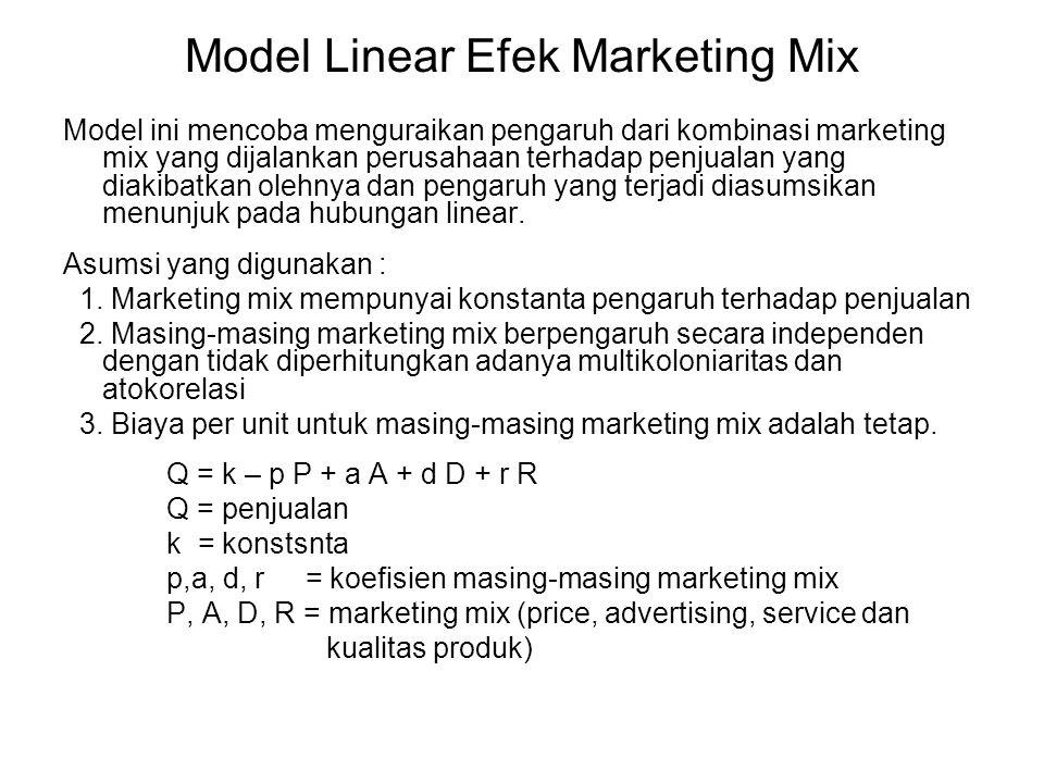 Model Linear Efek Marketing Mix Model ini mencoba menguraikan pengaruh dari kombinasi marketing mix yang dijalankan perusahaan terhadap penjualan yang
