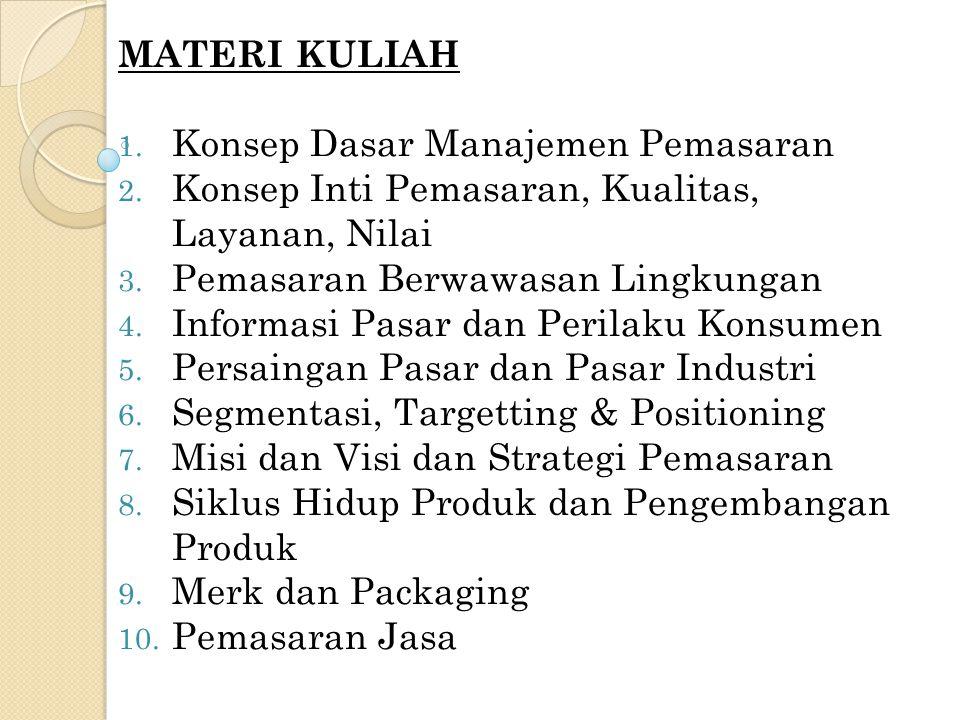 BUKU RUJUKAN 1.Kotler, Phillip. 2000. Manajemen Pemasaran Edisi Milenium.
