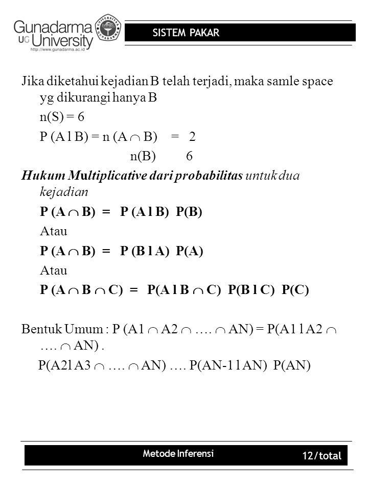 SISTEM PAKAR Metode Inferensi 12/total Jika diketahui kejadian B telah terjadi, maka samle space yg dikurangi hanya B n(S) = 6 P (A l B) = n (A  B) = 2 n(B) 6 Hukum Multiplicative dari probabilitas untuk dua kejadian P (A  B) = P (A l B) P(B) Atau P (A  B) = P (B l A) P(A) Atau P (A  B  C) = P(A l B  C) P(B l C) P(C) Bentuk Umum : P (A1  A2  ….
