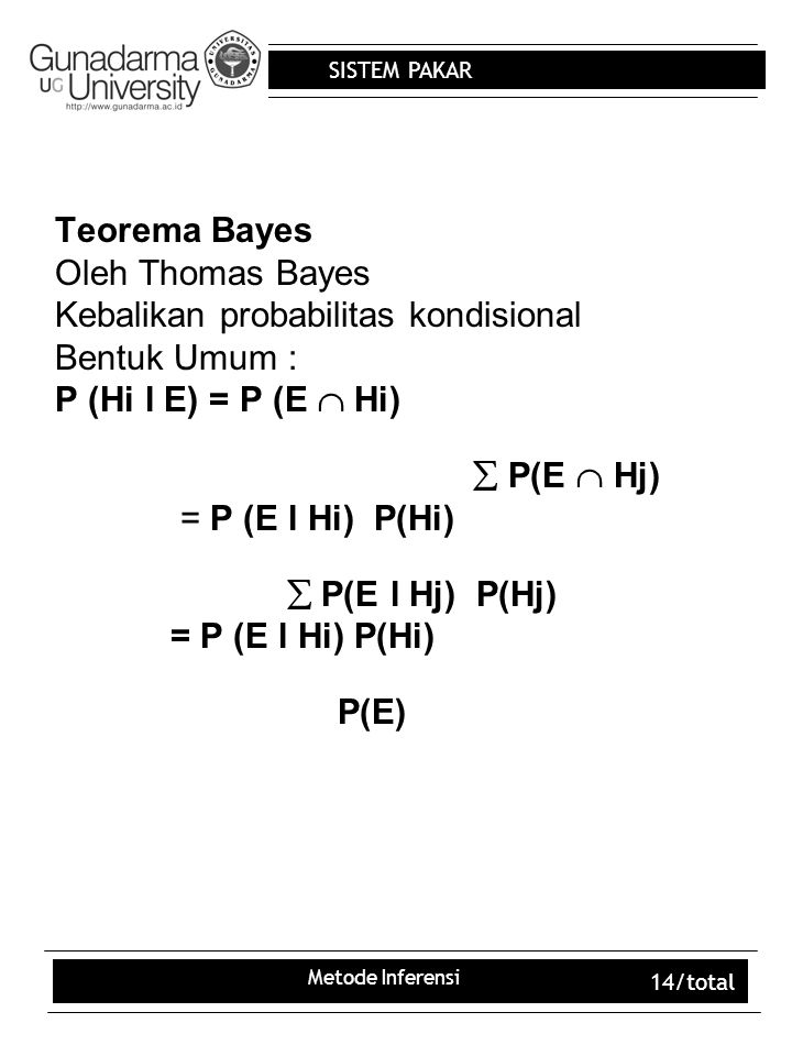 SISTEM PAKAR Metode Inferensi 14/total Teorema Bayes Oleh Thomas Bayes Kebalikan probabilitas kondisional Bentuk Umum : P (Hi l E) = P (E  Hi)  P(E  Hj) = P (E l Hi) P(Hi)  P(E l Hj) P(Hj) = P (E l Hi) P(Hi) P(E)