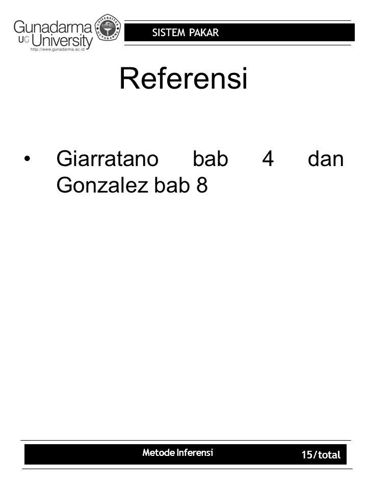 SISTEM PAKAR Metode Inferensi 15/total Metode Inferensi 15/total Referensi Giarratano bab 4 dan Gonzalez bab 8