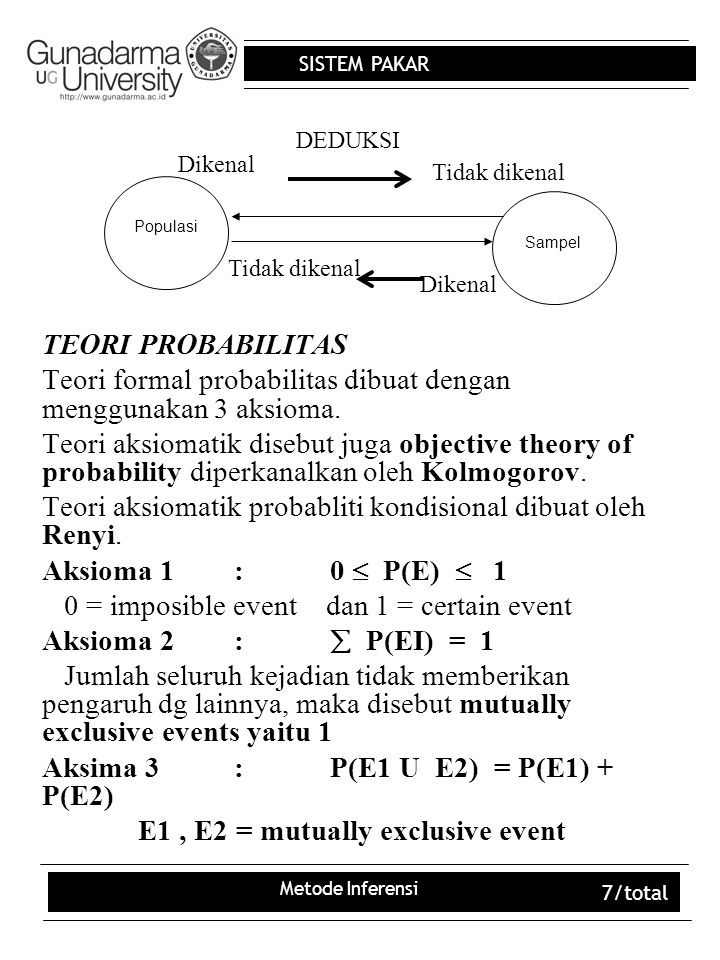 SISTEM PAKAR Metode Inferensi 8/total EKSPERIMENTAL DAN PROBABILITAS SUBJECTIF Ekperimental probability kebalikan dari a priori yaitu posteriori probability atau posterior probability yaitu menentukan probabilitas suatu kejadian P(E).