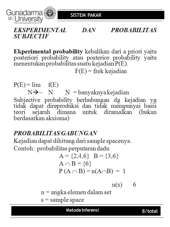 SISTEM PAKAR Metode Inferensi 8/total EKSPERIMENTAL DAN PROBABILITAS SUBJECTIF Ekperimental probability kebalikan dari a priori yaitu posteriori proba