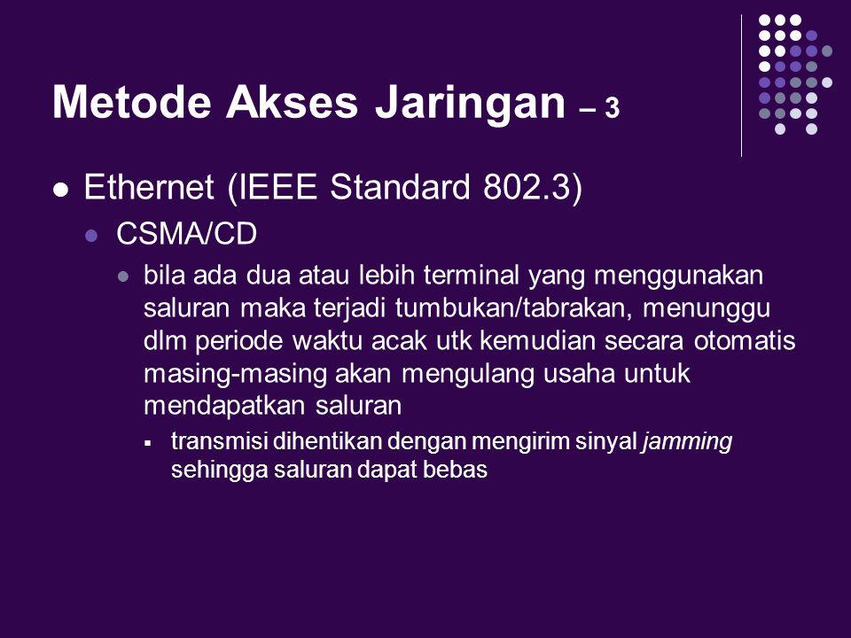 Metode Akses Jaringan – 3 Ethernet (IEEE Standard 802.3) CSMA/CD bila ada dua atau lebih terminal yang menggunakan saluran maka terjadi tumbukan/tabra