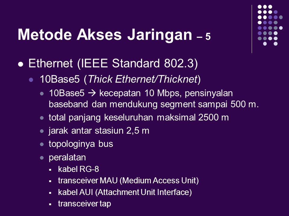 Metode Akses Jaringan – 5 Ethernet (IEEE Standard 802.3) 10Base5 (Thick Ethernet/Thicknet) 10Base5  kecepatan 10 Mbps, pensinyalan baseband dan mendu