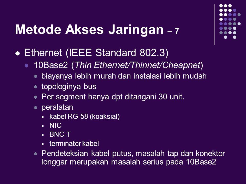 Metode Akses Jaringan – 7 Ethernet (IEEE Standard 802.3) 10Base2 (Thin Ethernet/Thinnet/Cheapnet) biayanya lebih murah dan instalasi lebih mudah topol
