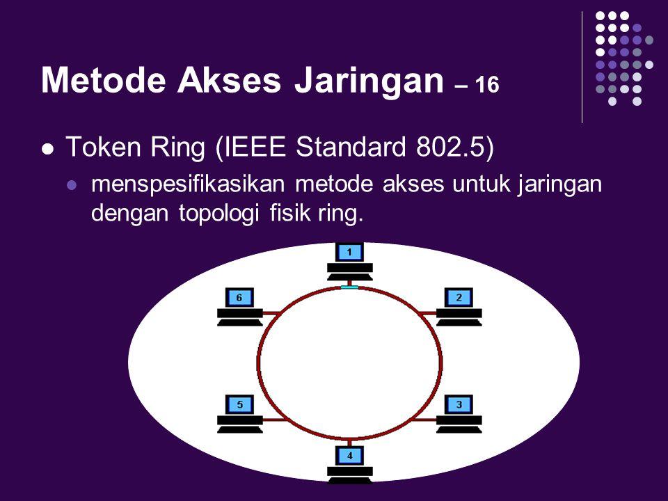 Metode Akses Jaringan – 16 Token Ring (IEEE Standard 802.5) menspesifikasikan metode akses untuk jaringan dengan topologi fisik ring.