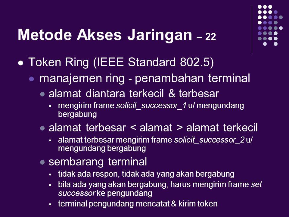 Metode Akses Jaringan – 22 Token Ring (IEEE Standard 802.5) manajemen ring - penambahan terminal alamat diantara terkecil & terbesar  mengirim frame
