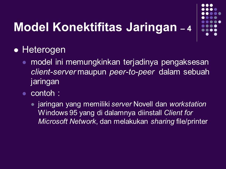 Model Konektifitas Jaringan – 4 Heterogen model ini memungkinkan terjadinya pengaksesan client-server maupun peer-to-peer dalam sebuah jaringan contoh