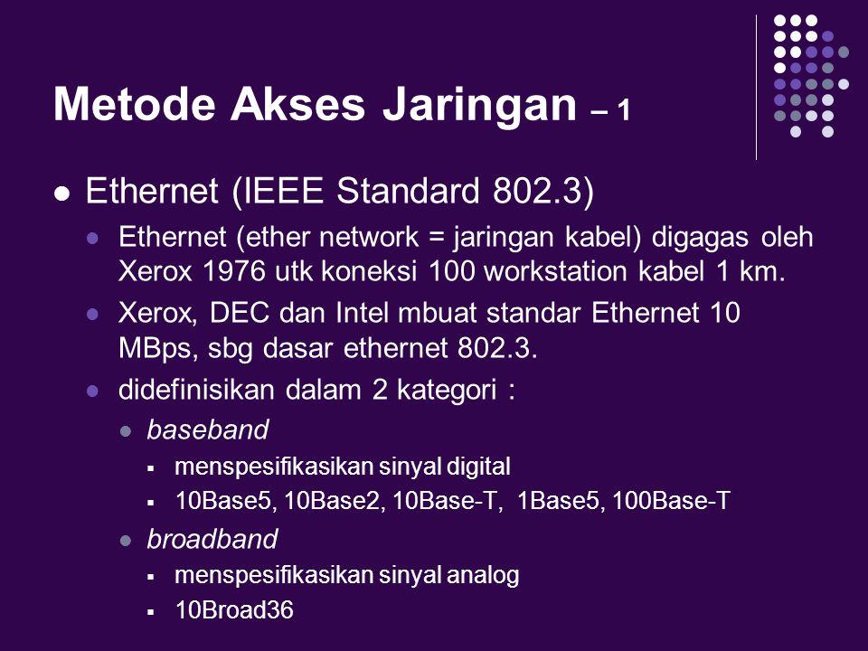 Metode Akses Jaringan – 1 Ethernet (IEEE Standard 802.3) Ethernet (ether network = jaringan kabel) digagas oleh Xerox 1976 utk koneksi 100 workstation